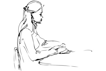 sketch a beautiful girl is at a table
