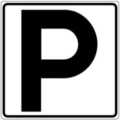 Papier Peint - Schild weiß - Parkplatz