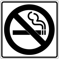 Papier Peint - Schild weiß - Rauchen verboten