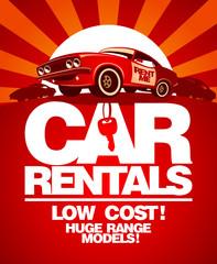 Fond de hotte en verre imprimé Affiche vintage Car rentals design template