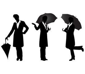 Silhouettes of girls with umbrella.Vector