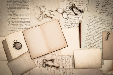 open book, antique accessories, old letters