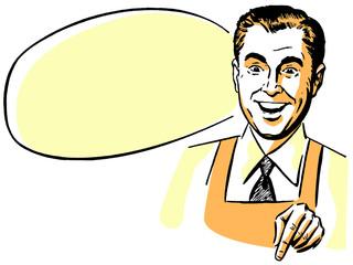 man wearing an apron with an empty speech bubble