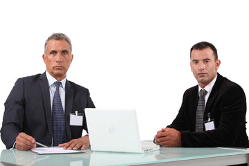 Couple of executives with computer
