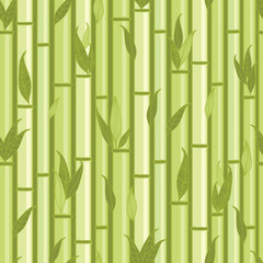 Vector bamboo stems and leaves seamless pattern background with