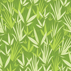 Vector bamboo branches seamless pattern background with hand