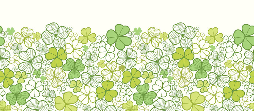 Vector clover line art horizontal seamless pattern ornament
