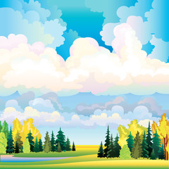 Autumn landscape with clouds, trees and meadow