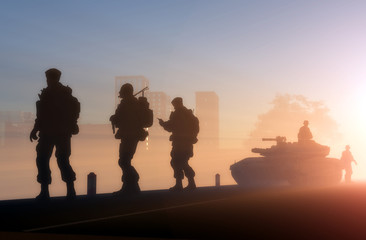 Silhouettes of the military in the sunlight.