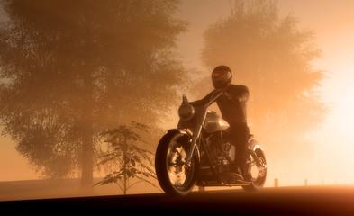 La pose en embrasure Motocyclette Silhouette of motorcyclist