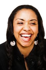 Laughing woman posing