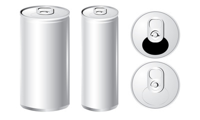 Vector of cans with the ring pull. isolated on white