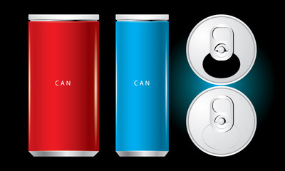 Vector of cans with the ring pull. isolated on black