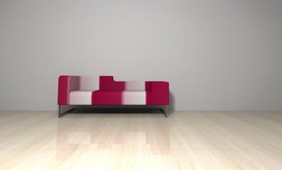 Sofa rot weiß gestreift