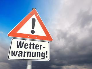 Schild Unwetterwarnung