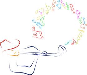 man singing musical notes