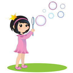 Girl with soap bubbles. EPS 10 illustration