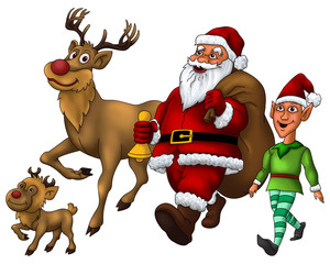 Santa Distributing Gift with Elf and Rudolph