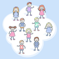 Niñas y niños pequeños  con una nube de fondo