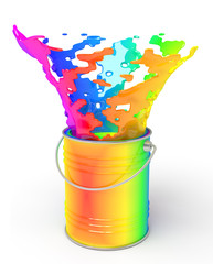 Rainbow paint splashing out of can