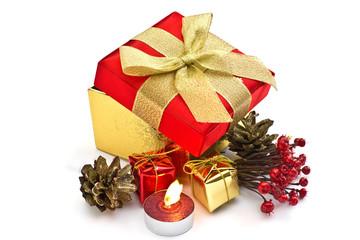 Festive gift box with christmas decoration  isolated on white ba