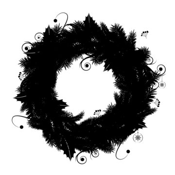 Christmas wreath silhouette for your design