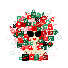 I love sale! Fashion woman portrait with shopping concept