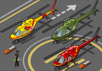 Isometric Red Helicopter Landing in Three Livery Resque and Mili