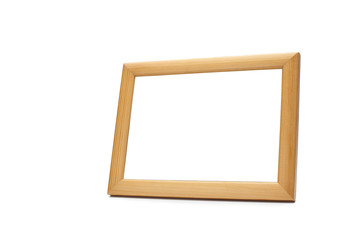 Blank wood picture frame on white background with clipping path
