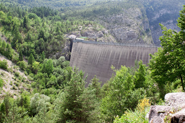 Dam Vaiont. Province Belluno, Italy. October 9, 1963 at dam was