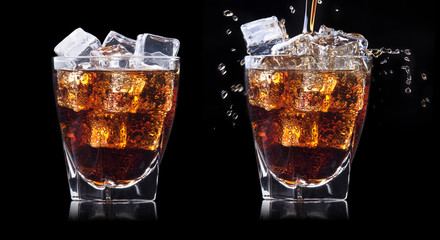 set of Fresh cola drink with ice