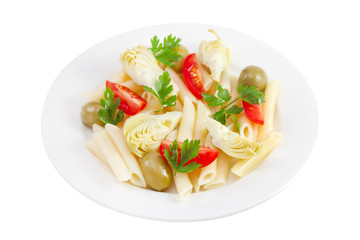 artichoke salad with penne and tomato on the white plate