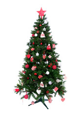 Decorated Christmas tree with patchwork ornament