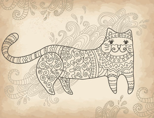 Patterned stylized cat