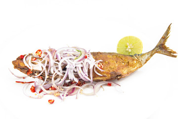 mackerel salty fried Thai cuisine