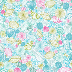 Vector seashells line art seamless pattern background with hand