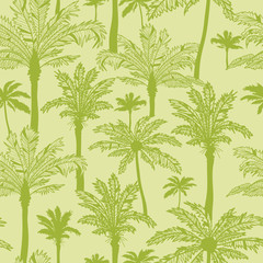Vector green palm trees seamless pattern background with hand