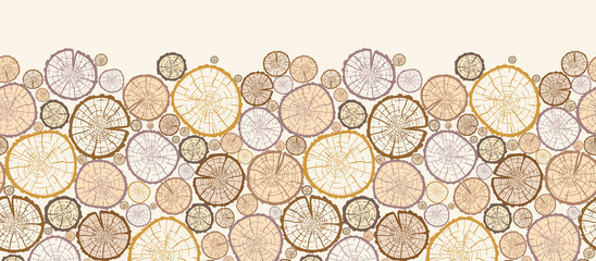 Vector wood log cuts horizontal seamless pattern ornament