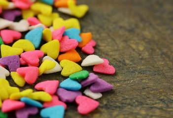 small sugar candy in the form of hearts