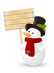 Snowman with wooden plate