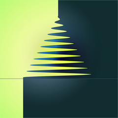 simple xmas tree abstract yellow blue concept vector