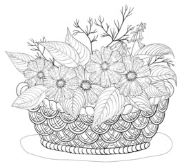 Basket with flowers, contours