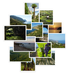 set of photographs with landscapes
