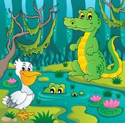 Foto auf Leinwand Waldtiere Swamp theme image 3