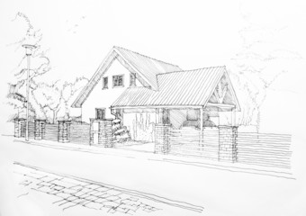 Sketch of a privat house from the street.