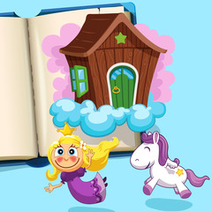 Poster Pony Little princess with pony