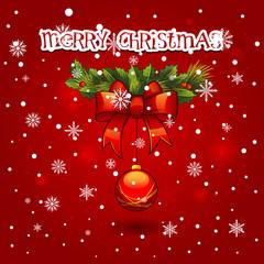 Christmas wreath with ball decoration. merry christmas card