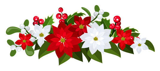Vector Christmas bouquet with poinsettias, holly and mistletoe.