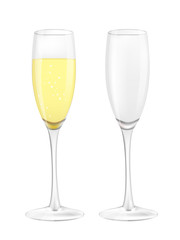 Two narrow glasses, one empty and one filled with champagne