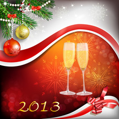 Glass of champagne with Christmas decoration for year 2013